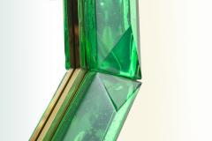 Bespoke Octagon Iridescent Emerald Green Murano Glass Mirror in Stock - 1946971