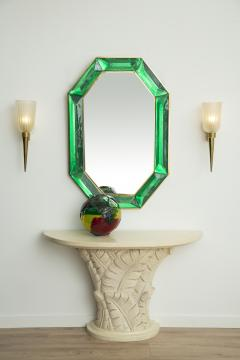 Bespoke Octagon Iridescent Emerald Green Murano Glass Mirror in Stock - 1946972