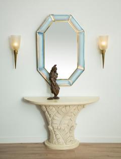 Bespoke Octagon Iridescent Opaline Murano Glass Mirror in Stock - 1603028