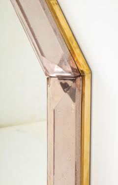 Bespoke Octagon Pink Murano Glass Mirror in Stock - 1614278