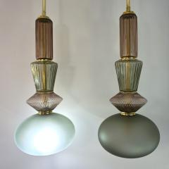 Bespoke Organic Amethyst Gray Green Murano Glass Brass Pendant Light - 1325169