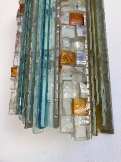 Biancardi Jordan 2 Pair of Sconces Hammered Glass by Biancardi Jordan Arte Italy 1970s - 1462445