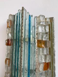 Biancardi Jordan 2 Pair of Sconces Hammered Glass by Biancardi Jordan Arte Italy 1970s - 1462450