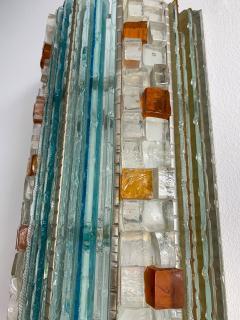 Biancardi Jordan 2 Pair of Sconces Hammered Glass by Biancardi Jordan Arte Italy 1970s - 1462454
