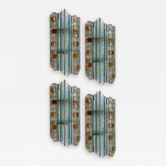 Biancardi Jordan 2 Pair of Sconces Hammered Glass by Biancardi Jordan Arte Italy 1970s - 1463072
