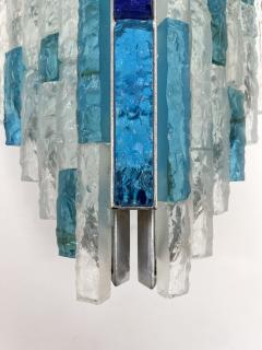 Biancardi Jordan Pair of Hammered Glass and Silver Iron Sconces by Biancardi Italy 1970s - 2124580