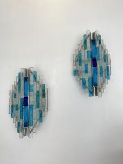 Biancardi Jordan Pair of Hammered Glass and Silver Iron Sconces by Biancardi Italy 1970s - 2124581