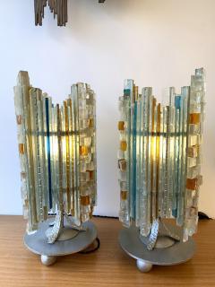Biancardi Jordan Pair of Lamps Glass and Wrought Iron by Biancardi Jordan Arte Italy 1970s - 1607269