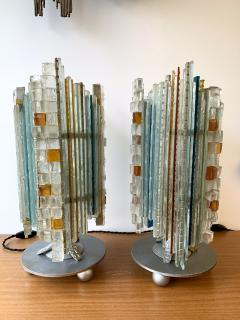 Biancardi Jordan Pair of Lamps Glass and Wrought Iron by Biancardi Jordan Arte Italy 1970s - 1607270