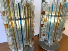 Biancardi Jordan Pair of Lamps Glass and Wrought Iron by Biancardi Jordan Arte Italy 1970s - 1607271
