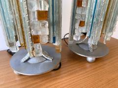 Biancardi Jordan Pair of Lamps Glass and Wrought Iron by Biancardi Jordan Arte Italy 1970s - 1607272