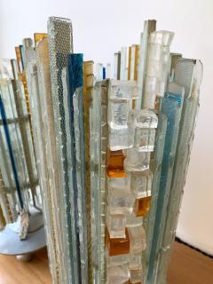 Biancardi Jordan Pair of Lamps Glass and Wrought Iron by Biancardi Jordan Arte Italy 1970s - 1607279