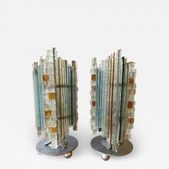 Biancardi Jordan Pair of Lamps Glass and Wrought Iron by Biancardi Jordan Arte Italy 1970s - 1608367