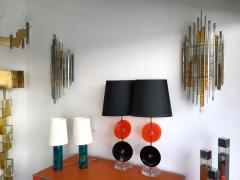 Biancardi Jordan Pair of Sconces Hammered Glass Iron by Biancardi and Jordan Arte Italy 1970s - 544571