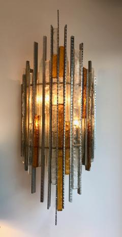 Biancardi Jordan Pair of Sconces Hammered Glass Iron by Biancardi and Jordan Arte Italy 1970s - 544576