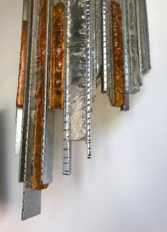 Biancardi Jordan Pair of Sconces Hammered Glass Iron by Biancardi and Jordan Arte Italy 1970s - 544578