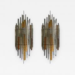 Biancardi Jordan Pair of Sconces Hammered Glass Iron by Biancardi and Jordan Arte Italy 1970s - 545306