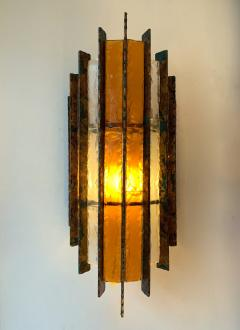 Biancardi Jordan Pair of Sconces Metal Glass Gold Leaf by Biancardi Arte Italy 1970s - 1177421