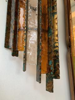 Biancardi Jordan Pair of Sconces Metal Glass Gold Leaf by Biancardi Arte Italy 1970s - 1177425