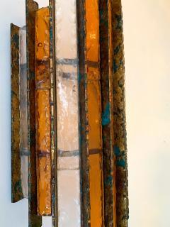 Biancardi Jordan Pair of Sconces Metal Glass Gold Leaf by Biancardi Arte Italy 1970s - 1177426