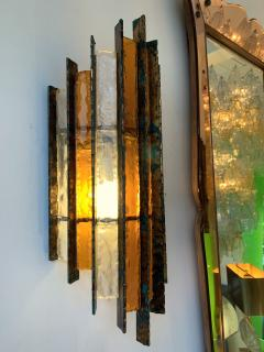 Biancardi Jordan Pair of Sconces Metal Glass Gold Leaf by Biancardi Arte Italy 1970s - 1177427