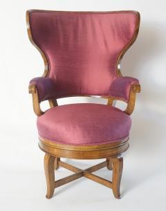 Biedermeier Fauteuil de Bureau Swivel Seat Wingback Chair circa 1830 - 788306
