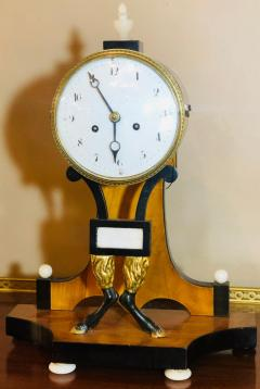 Biedermeier Mantle Clock with Ebonized Details and Hoof Legs Silk Suspension - 1239598