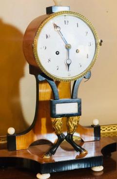 Biedermeier Mantle Clock with Ebonized Details and Hoof Legs Silk Suspension - 1239600
