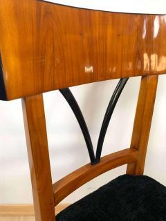 Biedermeier Side Chair Polished Cherry Black Velvet South Germany circa 1820 - 1612317