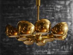 Big Brass Chandelier with Glass Lenses - 1690271
