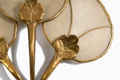 Big Italian wall sconce in brass flower shaped and fabric 20th century - 1506612