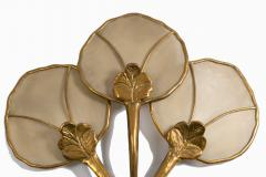 Big Italian wall sconce in brass flower shaped and fabric 20th century - 1506614