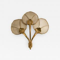 Big Italian wall sconce in brass flower shaped and fabric 20th century - 1509195