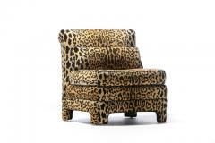 Billy Baldwin Pair of Billy Baldwin Regency Style Leopard Velvet Slipper Chairs c 1970s - 2101356