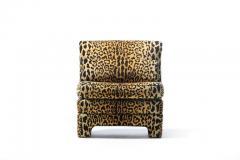 Billy Baldwin Pair of Billy Baldwin Regency Style Leopard Velvet Slipper Chairs c 1970s - 2101357