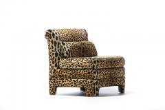 Billy Baldwin Pair of Billy Baldwin Regency Style Leopard Velvet Slipper Chairs c 1970s - 2101359
