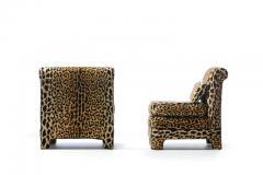 Billy Baldwin Pair of Billy Baldwin Regency Style Leopard Velvet Slipper Chairs c 1970s - 2101365