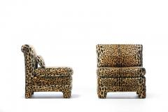 Billy Baldwin Pair of Billy Baldwin Regency Style Leopard Velvet Slipper Chairs c 1970s - 2101366