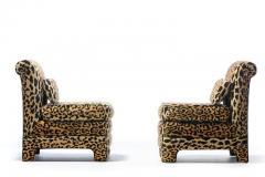 Billy Baldwin Pair of Billy Baldwin Regency Style Leopard Velvet Slipper Chairs c 1970s - 2101367