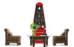Billy Baldwin Pair of Billy Baldwin Regency Style Leopard Velvet Slipper Chairs c 1970s - 2101369