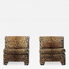 Billy Baldwin Pair of Billy Baldwin Regency Style Leopard Velvet Slipper Chairs c 1970s - 2106078
