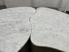 Biomorphic Grasscloth and Carrara Marble Top Coffee Table - 1895729
