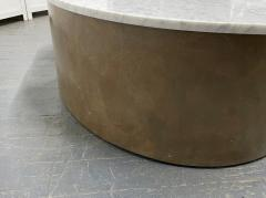 Biomorphic Grasscloth and Carrara Marble Top Coffee Table - 1895730