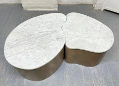 Biomorphic Grasscloth and Carrara Marble Top Coffee Table - 1895731
