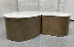 Biomorphic Grasscloth and Carrara Marble Top Coffee Table - 1895732