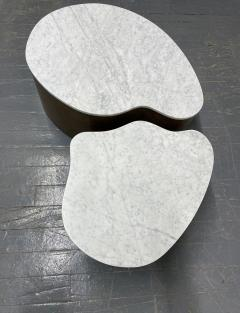 Biomorphic Grasscloth and Carrara Marble Top Coffee Table - 1895733