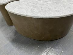Biomorphic Grasscloth and Carrara Marble Top Coffee Table - 1895734
