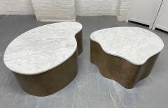 Biomorphic Grasscloth and Carrara Marble Top Coffee Table - 1895735