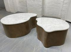Biomorphic Grasscloth and Carrara Marble Top Coffee Table - 1895736