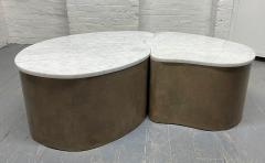 Biomorphic Grasscloth and Carrara Marble Top Coffee Table - 1895738